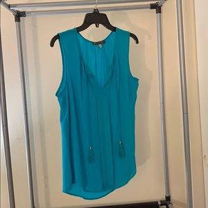 Rose & Olive teal sleeveless blouse